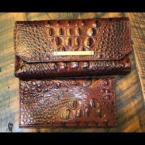 Brahmin Pecan Deluxe Checkbook Wallet